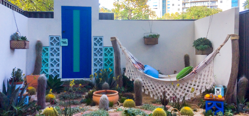 A Mexican-influenced garden, Rancho Relaxo, designed by Vivian Scapari, a Diploma of Horticulture student.