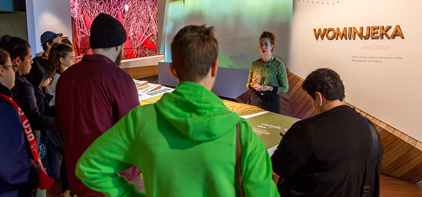 Students visiting the Bunjilaka Aboriginal Cultural Centre at Melbourne Museum as part of an Indigenous Representations unit at Swinburne University of Technology.