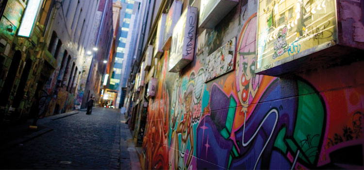Photograph of Melbourne's iconic graffiti laneways